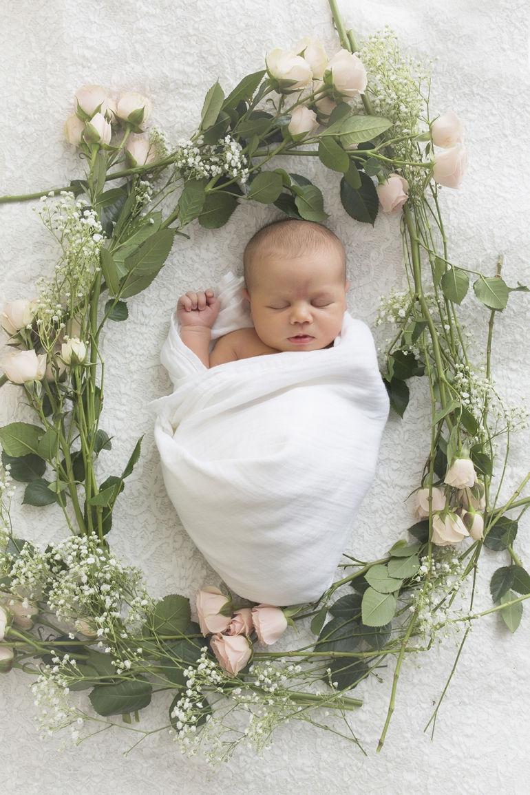 Floral Newborn Session with flowers