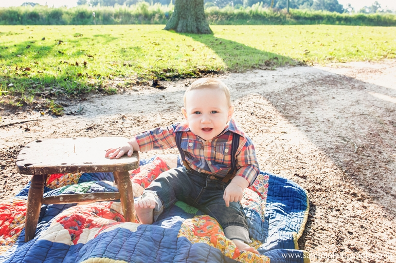 9 month Fall Session Plaid shirt and vintage quilt